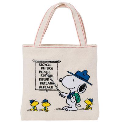 スヌーピー スヌーピー トートバッグ デニム刺繍 (ホワイト)