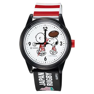 スヌーピー Peanuts×Q&Q SmileSolar 腕時計 ラグビー日本代表モデル (ブラック)