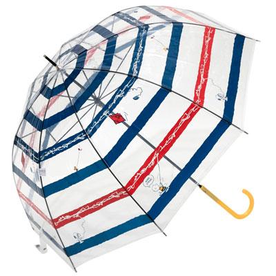 スヌーピー スヌーピー キャラクタービニール傘 (タコ糸ボーダー)