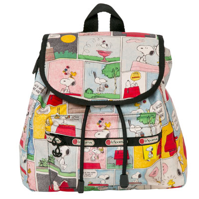 PEANUTS×LeSportsac SMALL EDIE BACKPACK スヌーピーパッチワーク